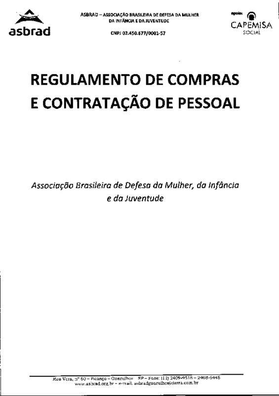 thumbnail of Regulamento de Compras e Contratação de Pessoal